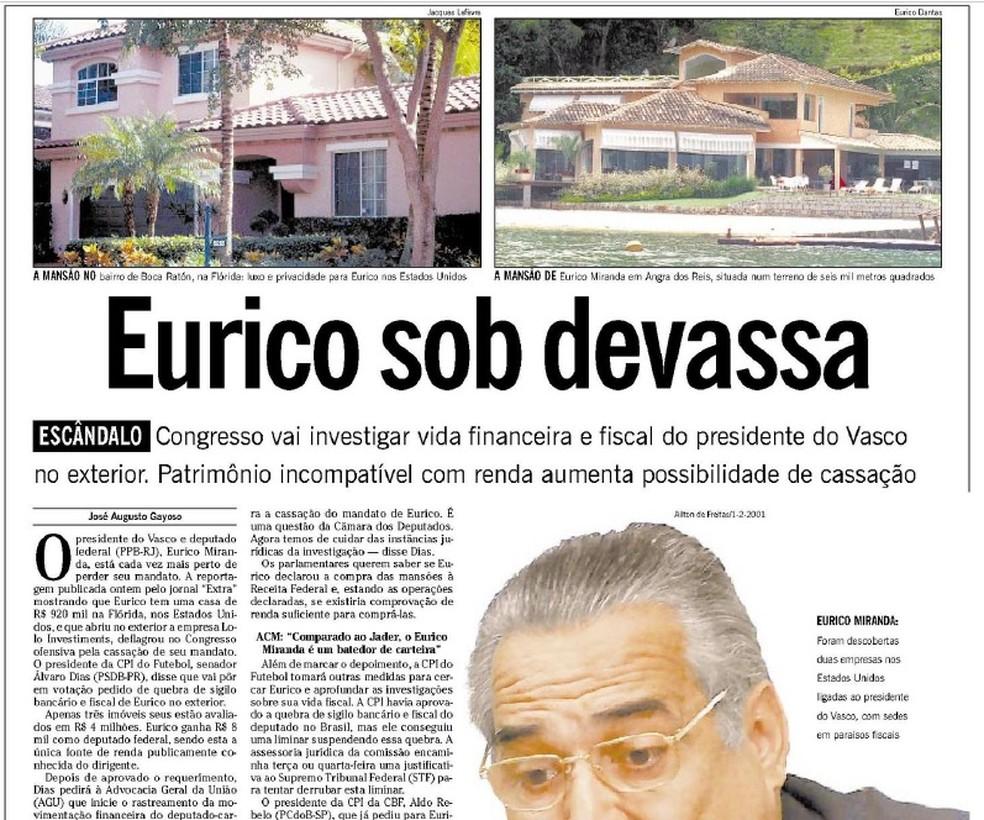Contracapa do jornal O Globo sobre a investigação da CPI do Futebol no Senado — Foto: Acervo Jornal O Globo / 05-02-2001