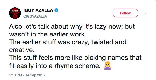 O outro tuíte de Iggy Azalea reclamando dos xingamentos de Eminem (Foto: Twitter)