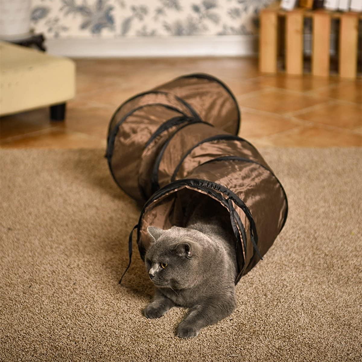 Pawz Brinquedo de Gatos Interativo, Túnel Dobrável para Coelhos, Gatinhos, Furões e Cães Pequenos com Dois Furos Espiados Azul (Foto: Divulgação)