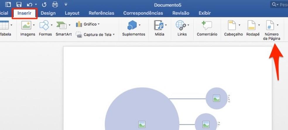 Ação para iniciar a ferramenta para paginar documentos no Microsoft Word — Foto: Reprodução/Marvin Costa