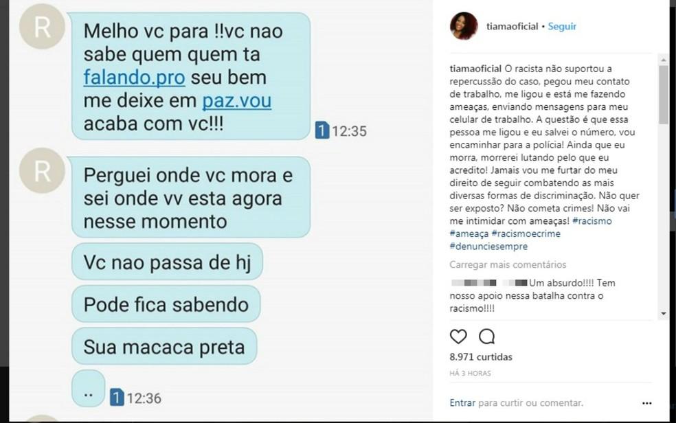 Após se chamada de 'macaca', jornalista denunciou ter sido alvo de ameças. (Foto: Reprodução/Instagram)