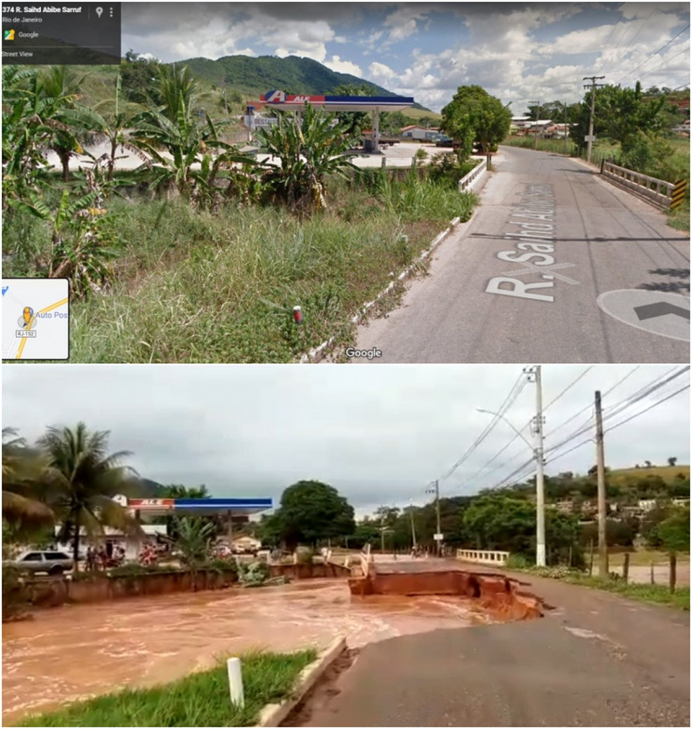 Antes e depois de estrada que foi levada pela chuva em Itaocara, no RJ — Foto: Imagem superior: Google Maps; imagem inferior: reprodução/Redes Sociais