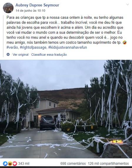 Post de Aubrey se tornou viral (Foto: Reprodução Facebook)