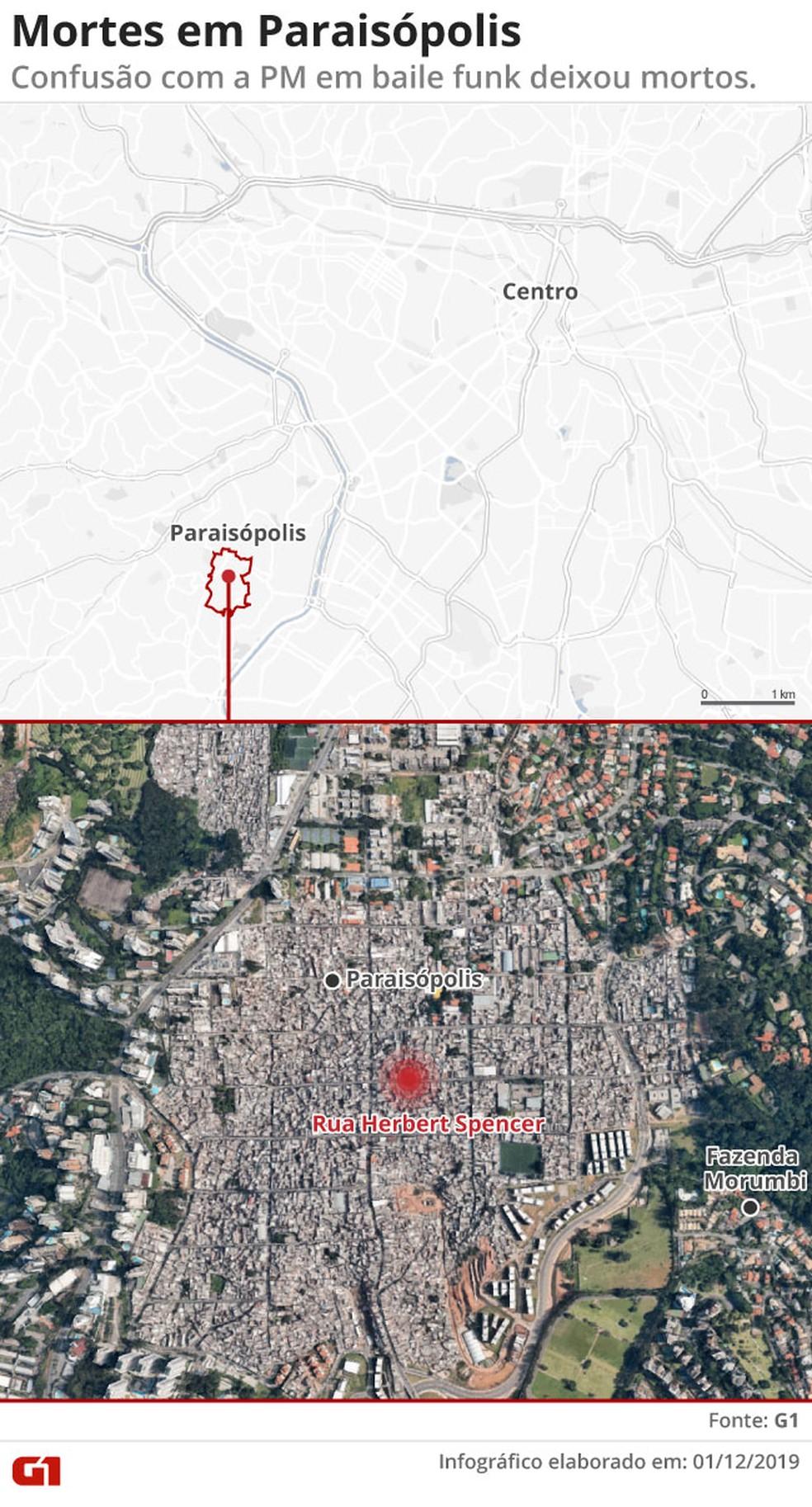 Mapa da comunidade Paraisópolis, na Zona Sul de São Paulo — Foto: Amanda Paes/G1