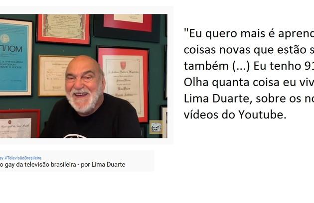Lima Duarte, de 90 anos, tem um canal do YouTube em que conta histórias da TV. Foi lá que ele disse ter sido o primeiro ator a dar um beijo em outro homem numa novela (Foto: Reprodução/Youtube)
