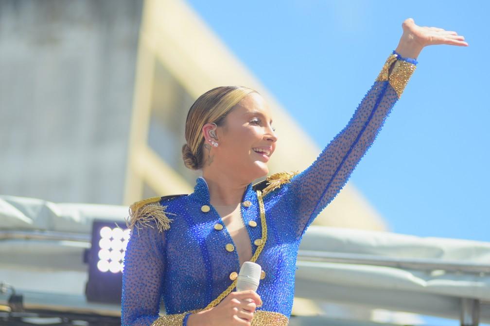 Claudia Leitte no carnaval de Salvador nesta segunda-feira (24) — Foto: Enaldo Pinto/Ag Haack