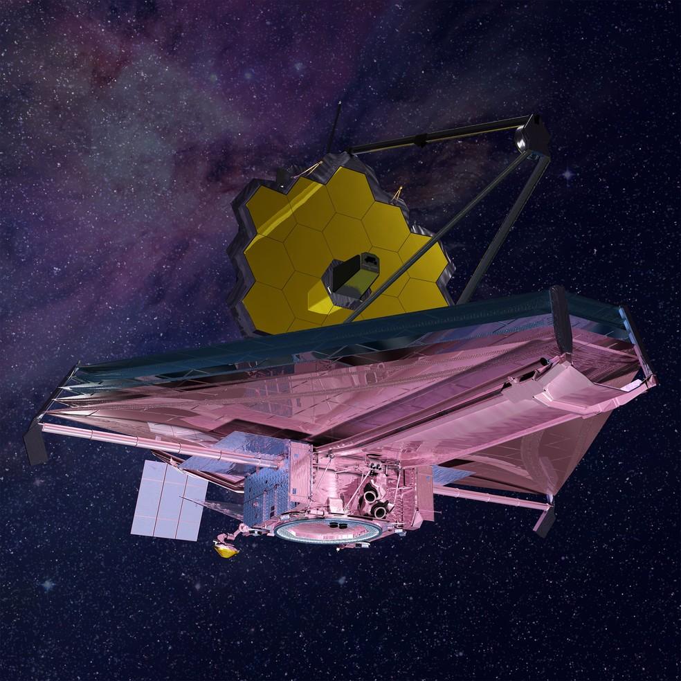 Telescópio espacial James Webb, em imagem artística da Nasa — Foto: Nasa/Divulgação