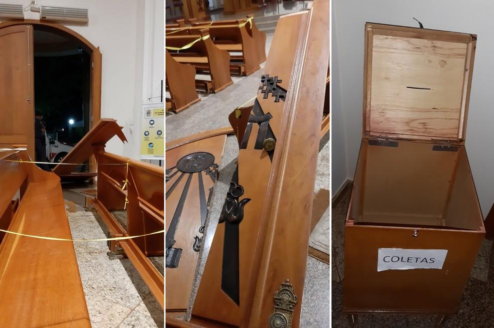 Boletim de ocorrência foi registrado por danos materiais — Foto: Facebook/Igreja de Maracaí/Reprodução