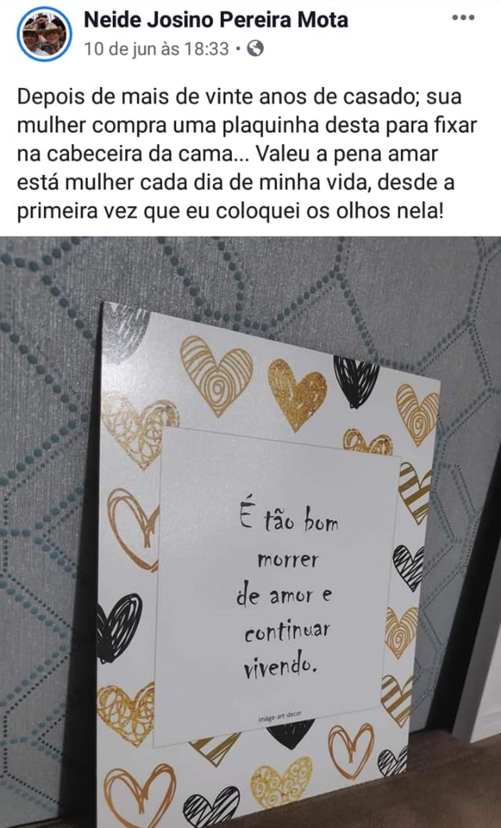 Marido usa redes sociais para fazer declarações românticas a esposa em MS — Foto: Josino Pereira/Arquivo Pessoal
