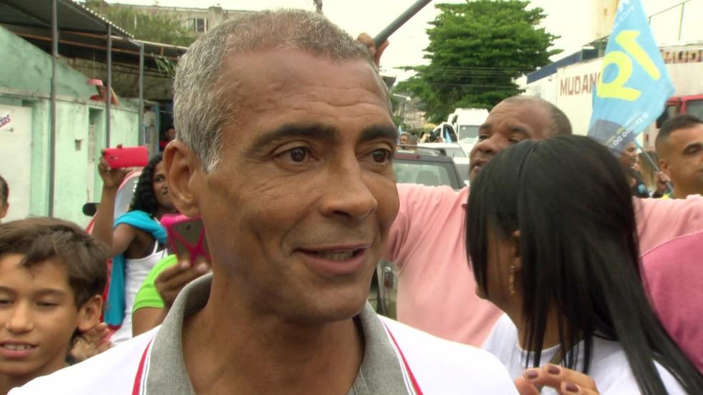 Romário durante campanha ao governo do Rio de Janeiro, em 2018 — Foto: Reprodução/TV Globo