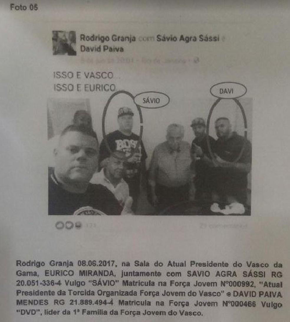 Relatório do Gepe mostra Rodrigo Granja (Batata) à frente, Savio e outros membros de organizada com Eurico (Foto: Reprodução Gepe)
