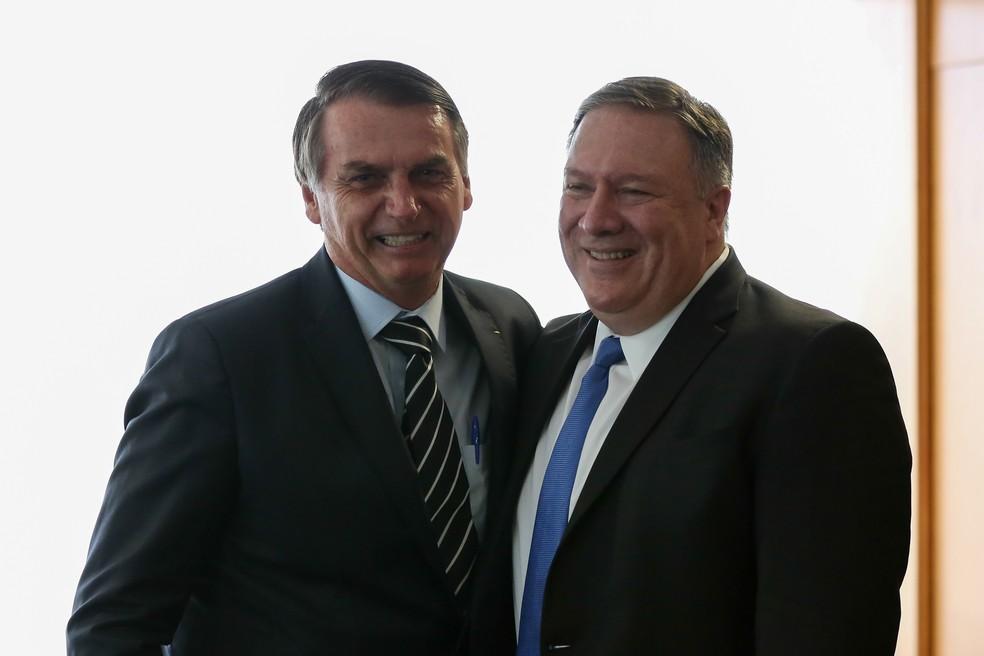 O presidente da República, Jair Bolsonaro, durante audiência com Mike Pompeo, Secretário de Estado dos EUA, na semana passada — Foto: Marcos Corrêa/Presidência da República