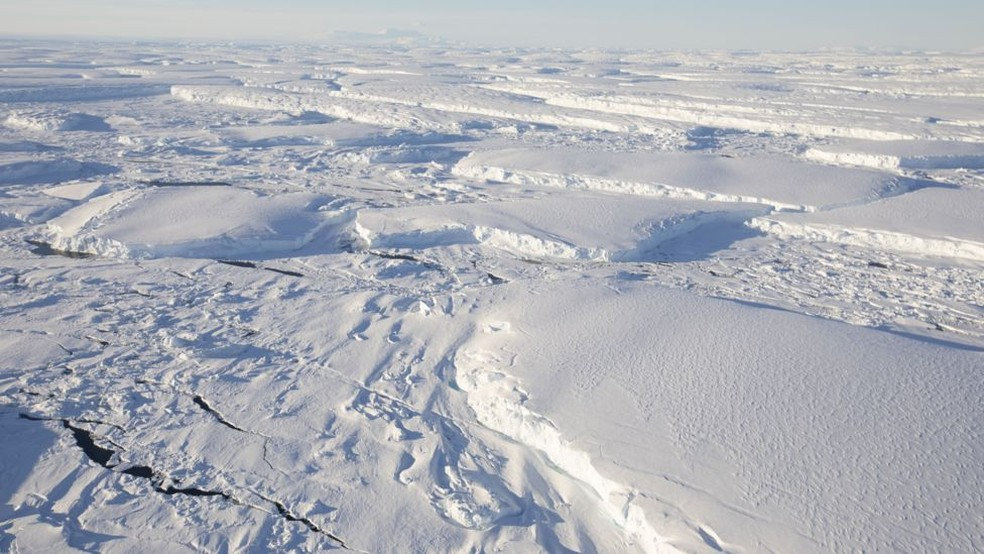 Geleira Thwaites, na Antártica — Foto: BBC