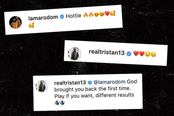 Os comentários da discórdia de Tristan Thompson e Lamar Odom, ambos ex de Khloé Kardashian (Foto: Reprodução)