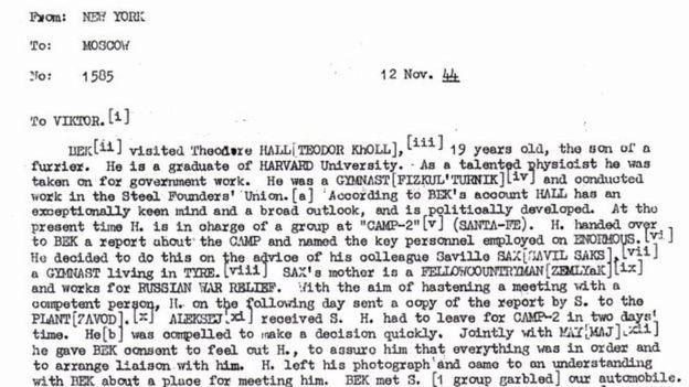 Autoridades americanas descobriram Theodore Hall se encontrou com um contato russo em 1944 (Foto: NSA via BBC News)