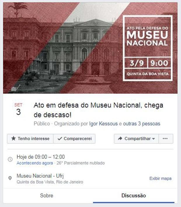 Ato em defesa do Museu Nacional acontece no Rio de Janeiro (Foto: Divulgação)