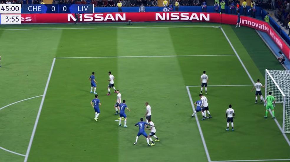 FIFA 20: escolha a quantidade de jogadores que vão para a área na hora do escanteio — Foto: Reprodução / Thomas Schulze