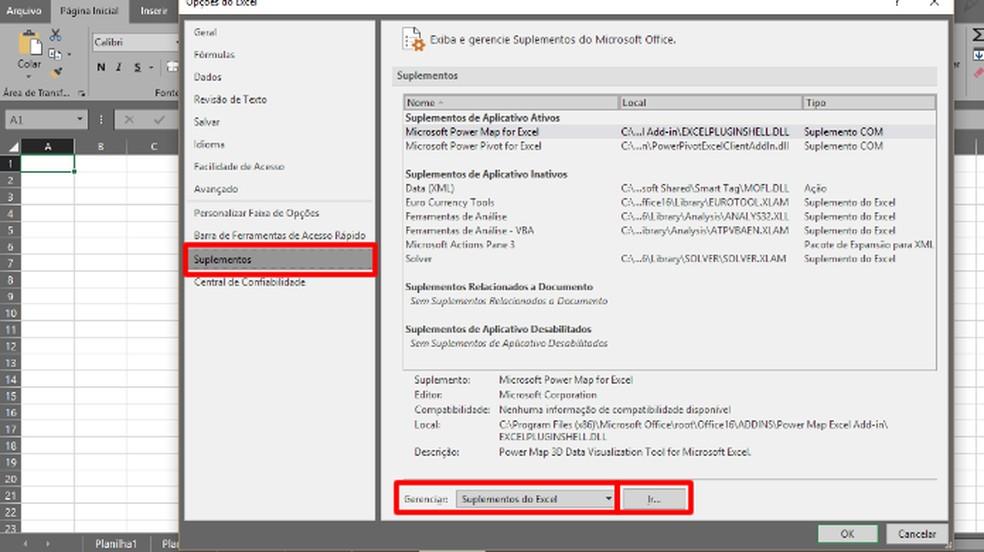 """Em """"Suplementos"""", escolhe """"Suplementos do Excel"""" e clique em """"Ir..."""" (Foto: Reprodução/Daniel Ribeiro)"""