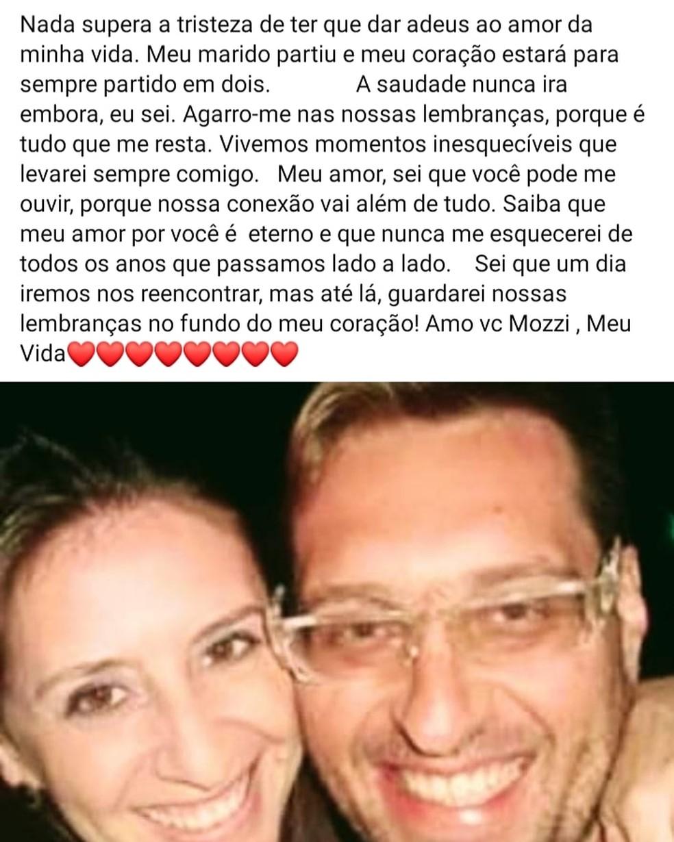 Esposa de entregador morto em acidente em Franca (SP) presta homenagem no Facebook — Foto: Facebook/Reprodução
