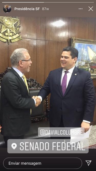 O novo ministro da Saúde, Marcelo Queiroga, e o senador Davi Alcolumbre