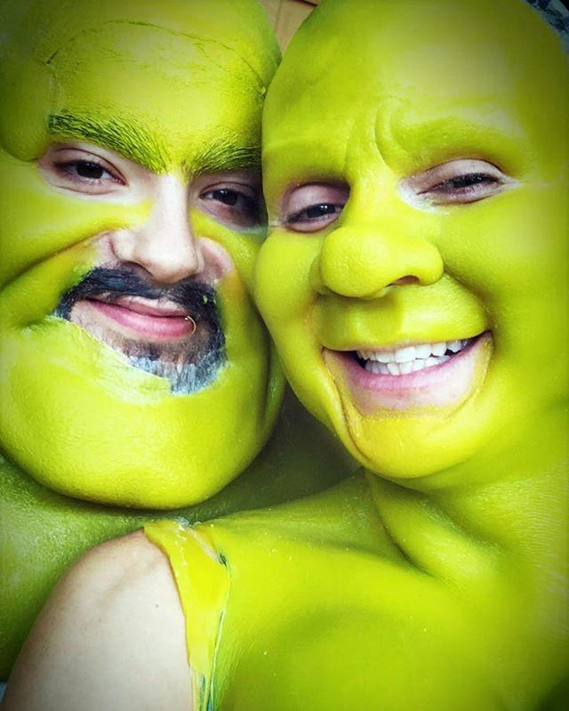 Heidi Klum de Shrek e Fiona para o Halloween (Foto: Reprodução/Instagram)