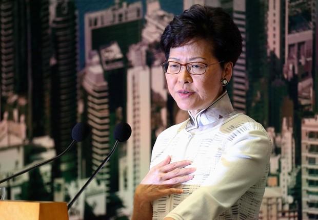 A chefe de Governo de Hong Kong, Carrie Lam. (Foto: ATHIT PERAWONGMETHA via Agência Brasil)