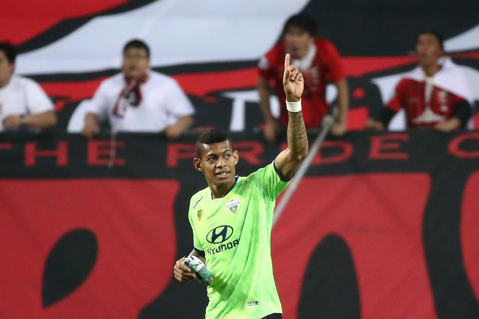 Ricardo Lopes comemora gol com a camisa do Jeonbuk — Foto: Chung Sung-Jun