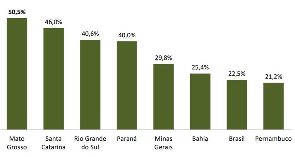 Veja a comparação do PIB do agronegócio de Mato Grosso com o de outros estados — Foto: Reprodução/ Imea