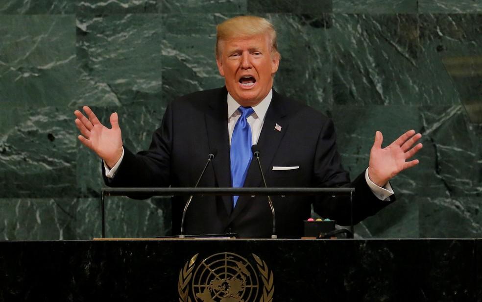 Donald Trump discursa na Assembleia Geral da ONU, onde ameaçou 'destruir' a Coreia do Norte (Foto: Lucas Jackson/Reuters)