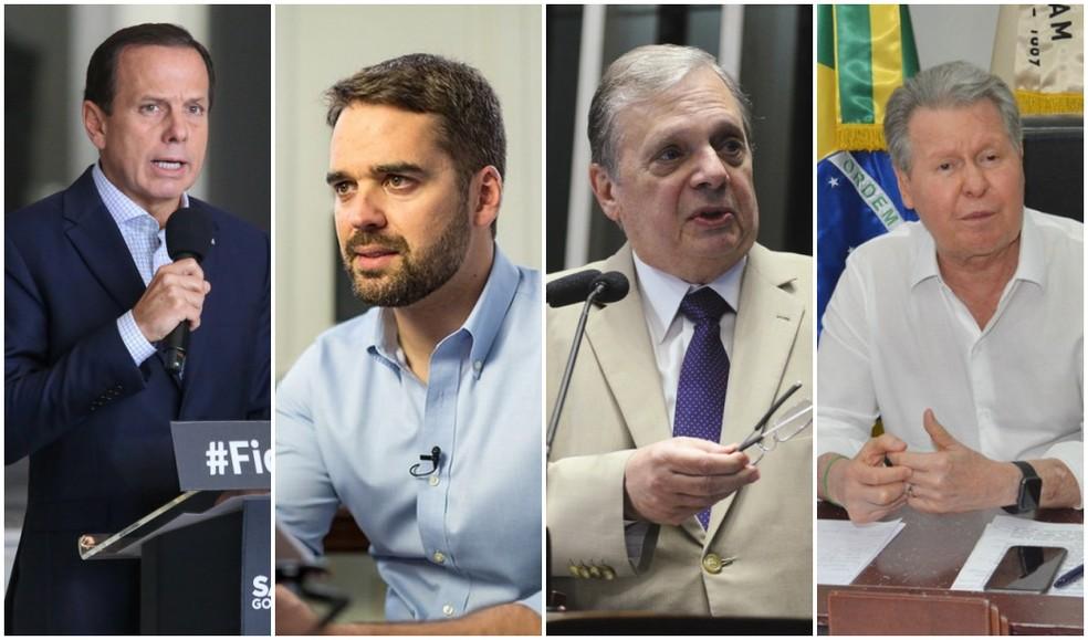 Os quatro pré-candidatos do PSDB à Presidência da República: João Doria (SP), Eduardo Leite (RS), Tasso Jereissati (CE) e Arthur Virgílio Neto (AM). — Foto: Montagem/G1