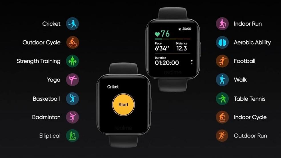 Realme Watch exibe na tela inicial informações como contagem de passos e frequência cardíaca  — Foto: Reprodução/Android Authority