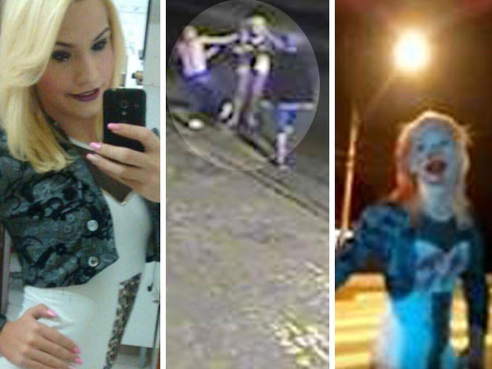 Fotos mostram Laura Vermont antes da agressão, o momento que ela é agredida por cinco rapazes e como seu rosto ficou após apanhar; travesti morreu por causa de traumatismo craniano (Foto: Fotomontagem/Reprodução/Divulgação/Arquivo Pessoal/Facebook/WhatsApp)