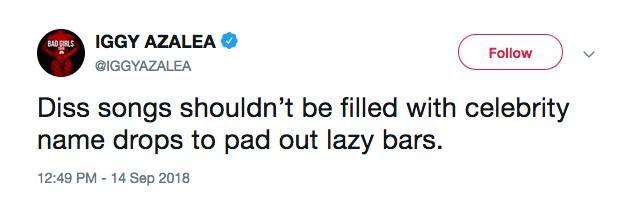 Uma das mensagens de Iggy Azalea chamando Eminem de preguiçoso (Foto: Twitter)