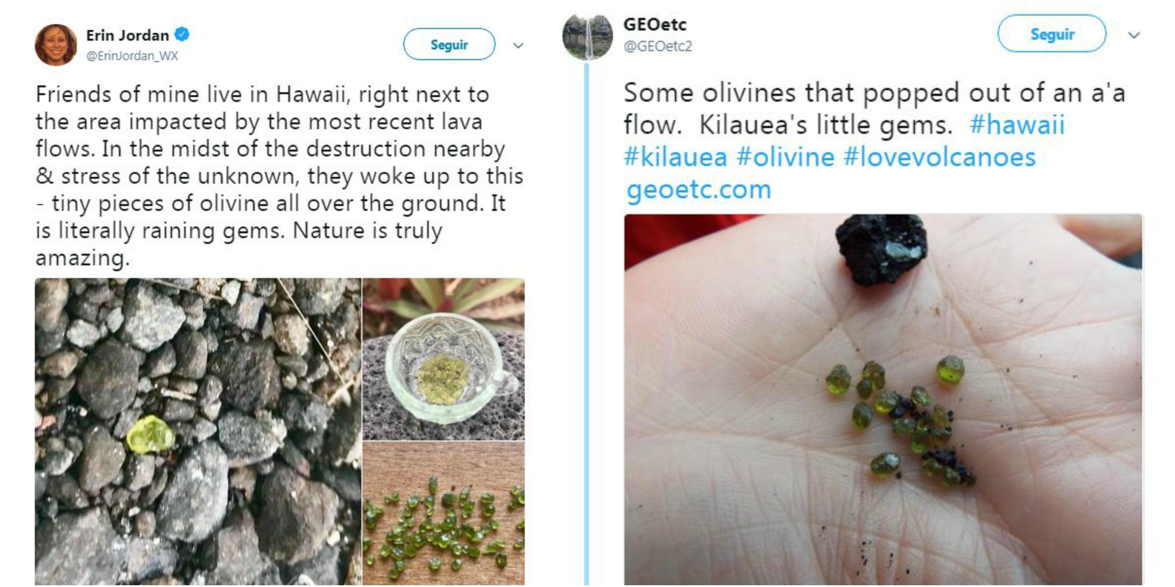 Olivina coletada por moradores da Big Island.  (Foto: Reprodução / Twitter)