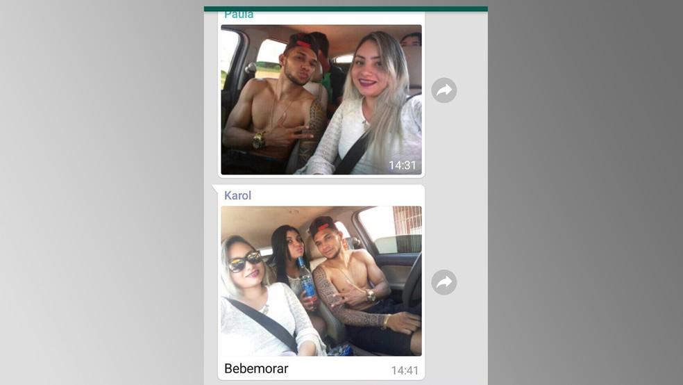 Carolina e amigos, momentos antes do acidente (Foto: Reprodução/Redes sociais)