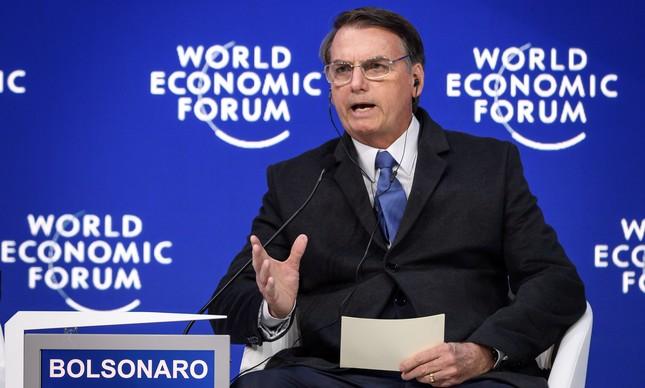 Bolsonaro discursa em Davos
