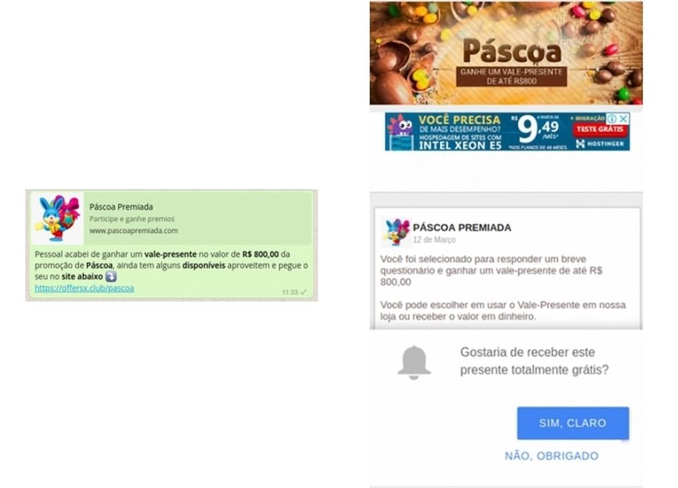 Mensagem para promoção de Páscoa falsa no WhatsApp  (Foto: Divulgação/PSafe)