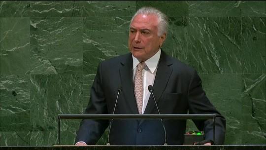 Temer diz na ONU que entregará Brasil melhor do que recebeu