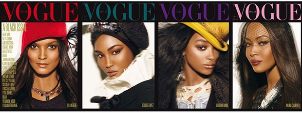 Franca Sozzani's ground-breaking decision to publish the July 2008 edition of Vogue Italia using only black models turned industry thinking on its head: the issue sold out within hours of hitting the newsstands and was reprinted to meet demand (Foto: Vogue Italia)