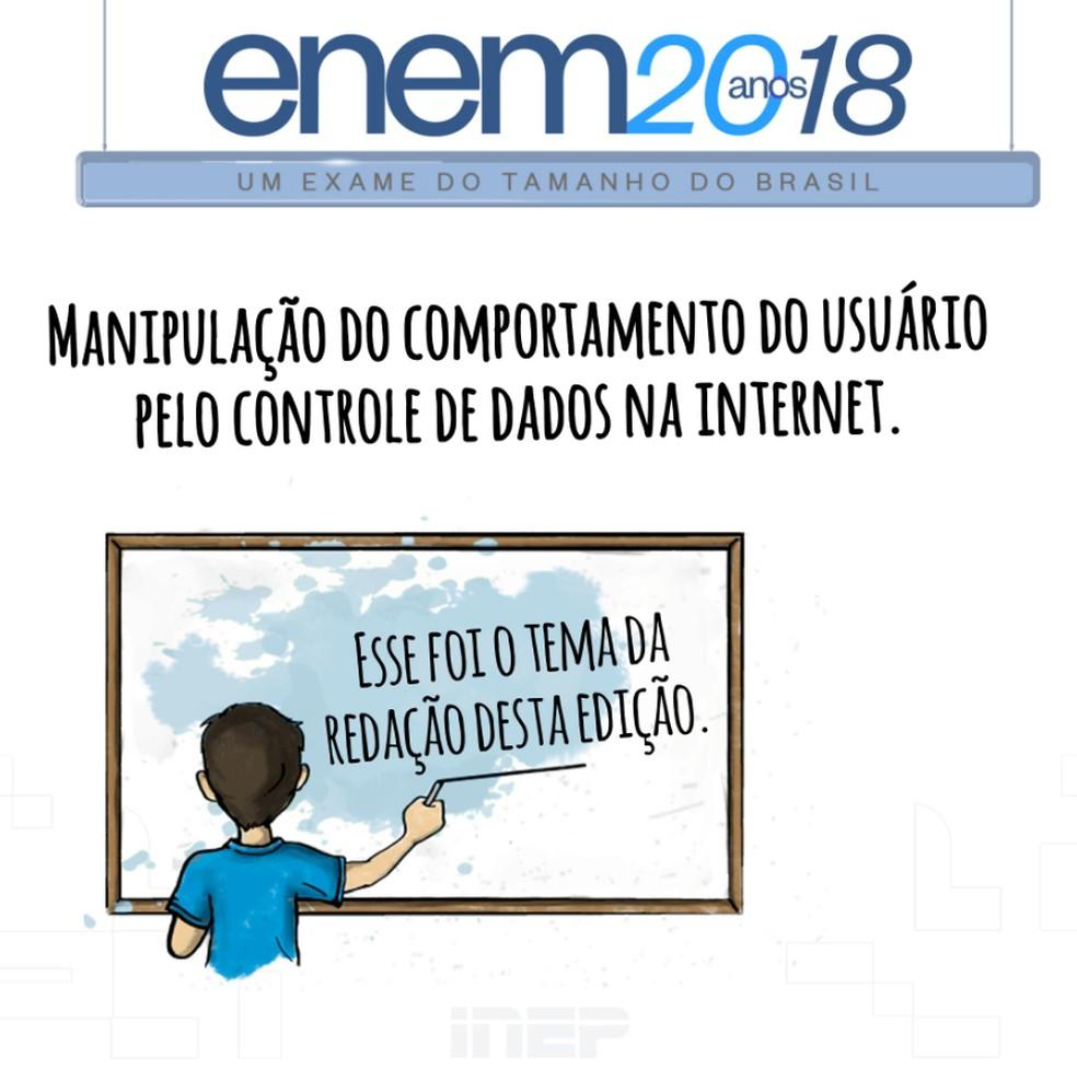 Tema da redação do Enem 2018 foi 'Manipulação do comportamento do usuário pelo controle de dados na internet' — Foto: Reprodução/Inep