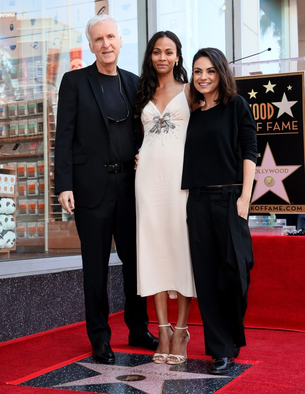 James Cameron, Zoe Saldana e Mila Kunis (Foto: Getty Images)