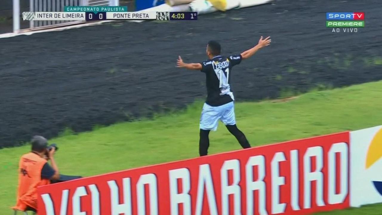 Gol da Ponte Preta! Bruno Rodrigues, de cabeça, abre o placar aos 3' do 1º tempo