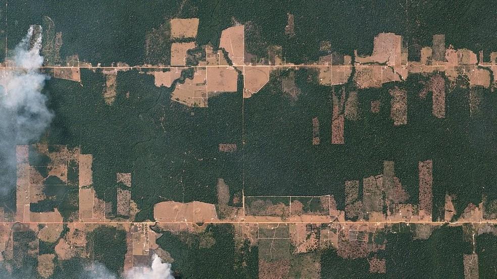 Visão aérea de terras ocupadas em Rondônia, palco de tensão no campo (Foto: Planet Labs/Creative Commons)