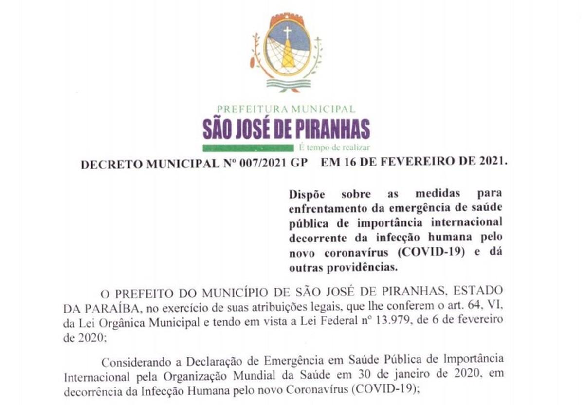 Coronavírus: prefeito de São José de Piranhas, PB, fecha serviços não essenciais