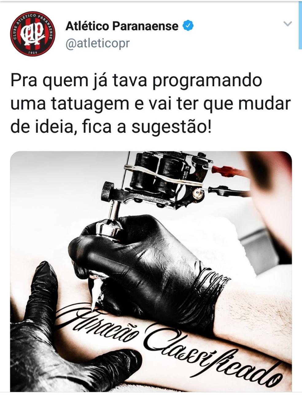 Atlético-PR provoca Fluminense e sugere mudança no sonho de tatuar ... 2989208d3330c
