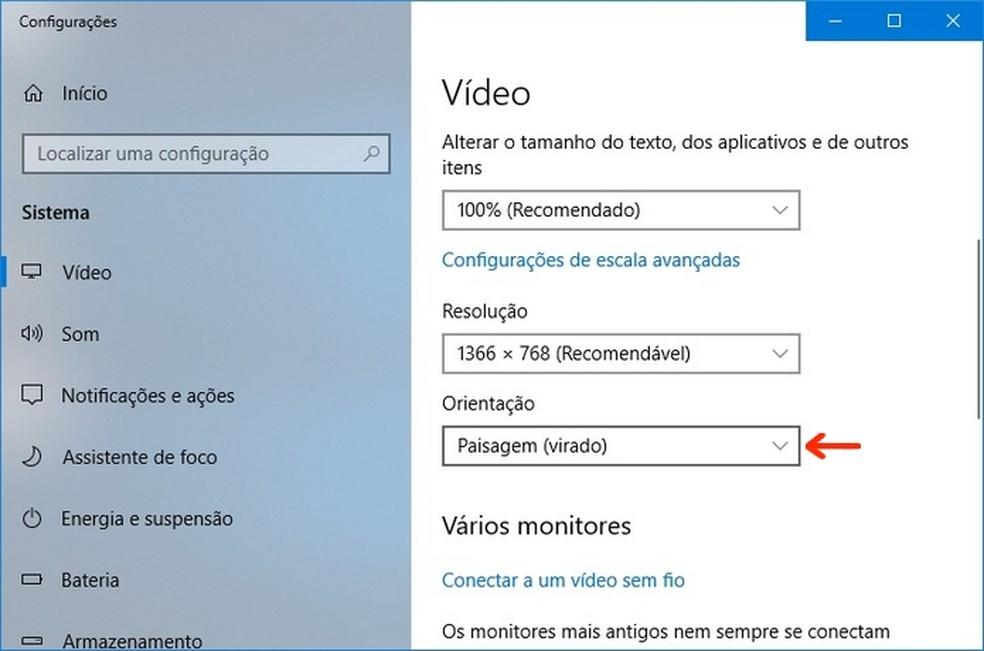 Orientação do vídeo no Windows configurado como Paisagem (virado) — Foto: Reprodução/Raquel Freire