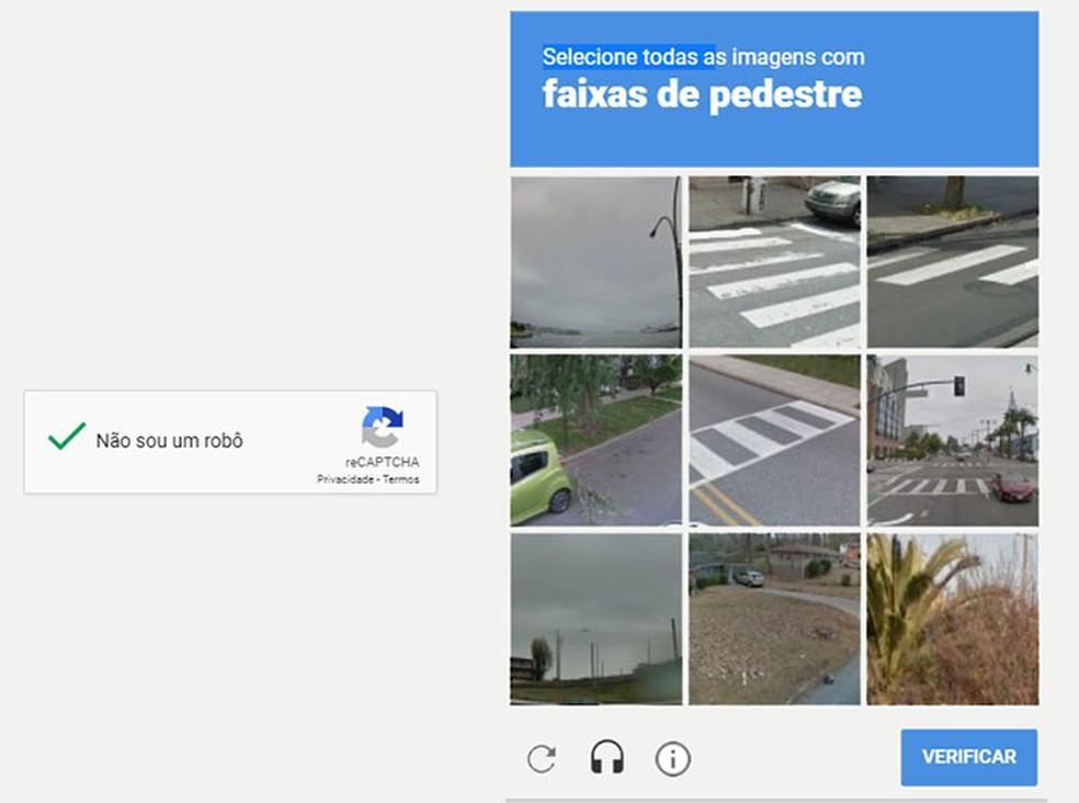 Teste do reCAPTCHA pode ser validado automaticamente em certas circunstâncias — Foto: Reprodução