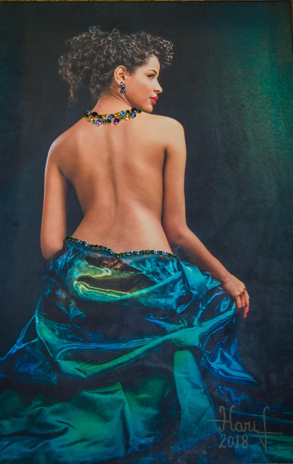 Quadro da artista plástica Maristela Giassi retrata a Miss Brasil Monalysa Alcântara. (Foto: Maristela Giassi)