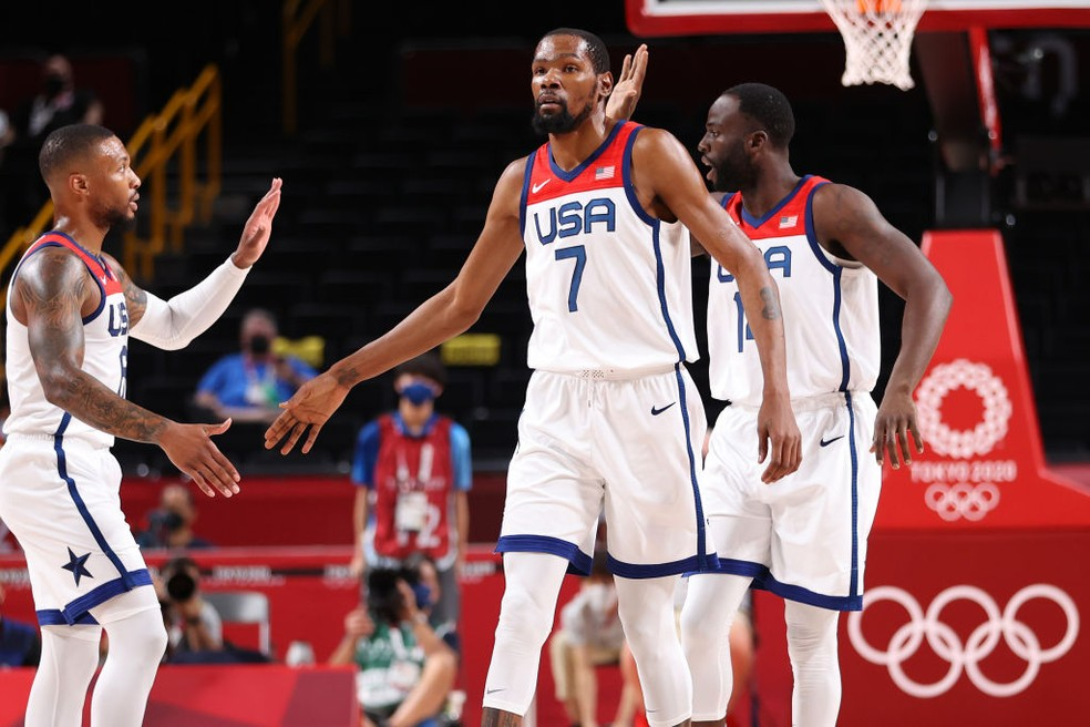 Kevin Durant lidera seleção dos EUA no basquete em final contra a França — Foto: Gregory Shamus/Getty Images