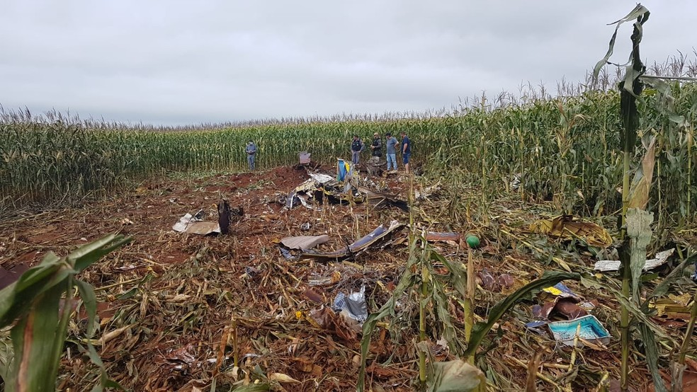 Dois pilotos morreram neste domingo (14) após a queda de um avião de pequeno porte em uma plantação de milho em uma fazenda em Tangará da Serra — Foto: Diário da Serra